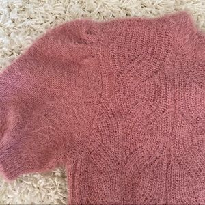 Band of Gypsies Sweaters - Fuzzy Pink Cable-Knit Sweater